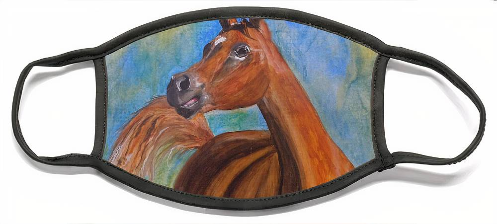 Horse Face Mask featuring the painting Arabian Beauty by Jean Blackmer