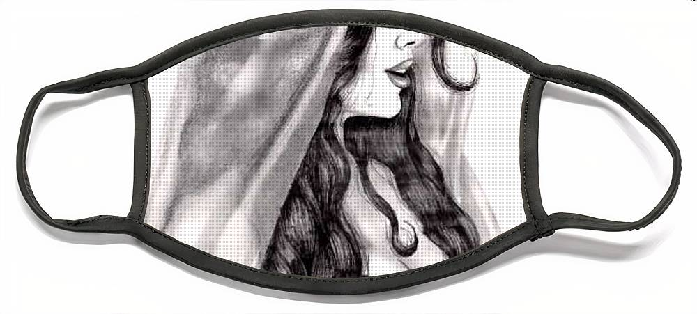 Figure Face Mask featuring the drawing Arabian Beauty by Scarlett Royal