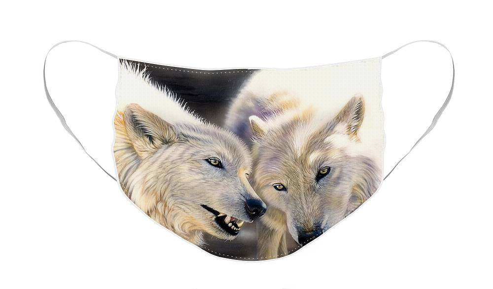 Acrylics Face Mask featuring the painting Arctic Pair by Sandi Baker