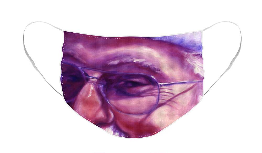Portrait Face Mask featuring the painting Are You Sure You Have Been Nice by Shannon Grissom