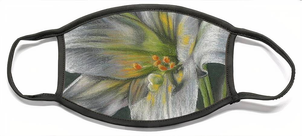 Easter Lily Face Mask featuring the mixed media Arise by Barbara Keith