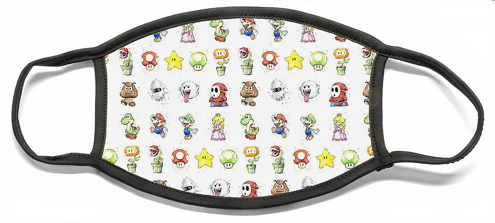 Mario Face Mask featuring the painting Mario Characters in Watercolor by Olga Shvartsur