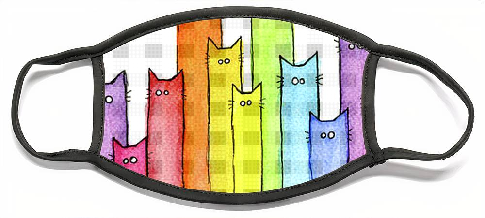 Watercolor Face Mask featuring the painting Rainbow of Cats by Olga Shvartsur