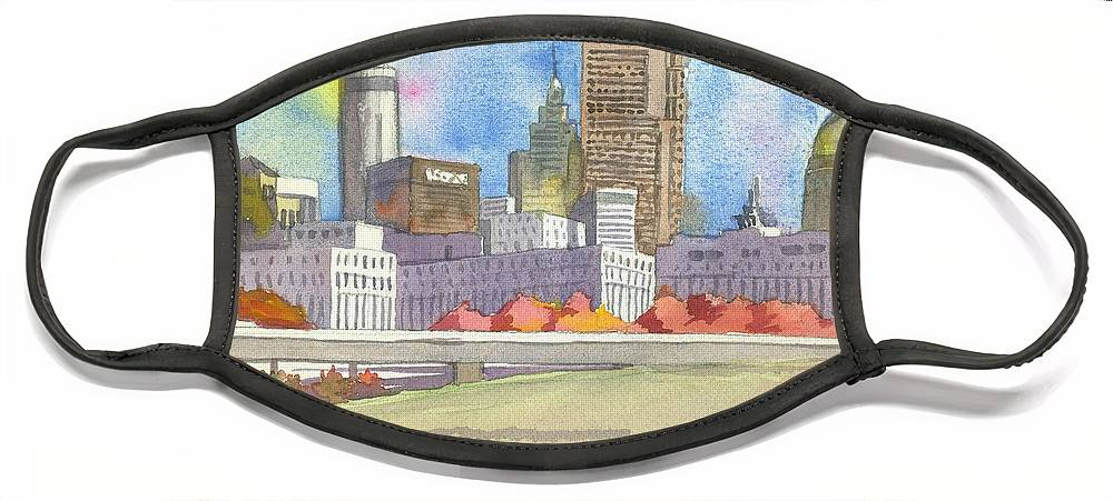 Atlanta Face Mask featuring the painting Atlanta Skyline Color by Scott Serafy