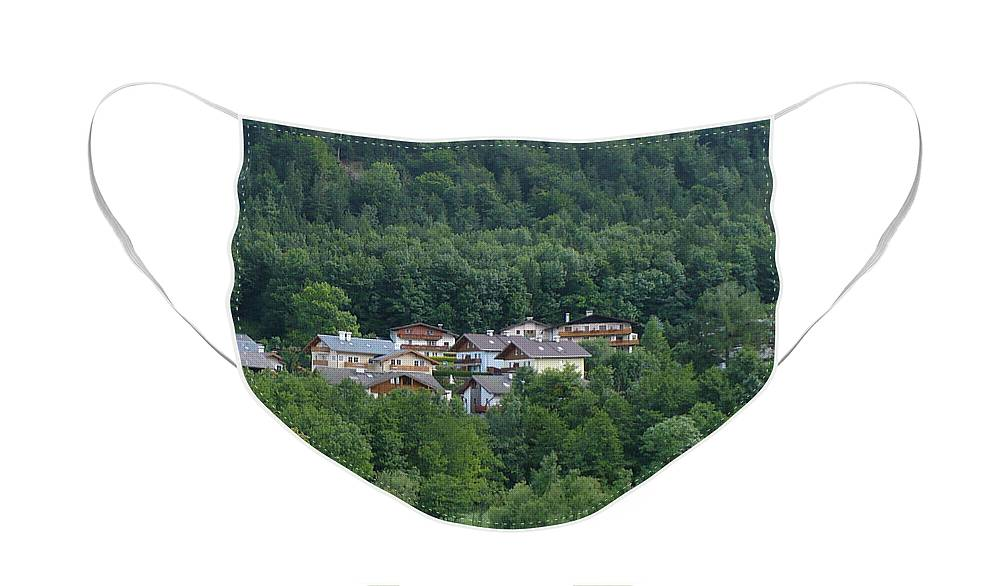 Austria Face Mask featuring the photograph Austrian Houses Tucked in Hillside by Carol Groenen
