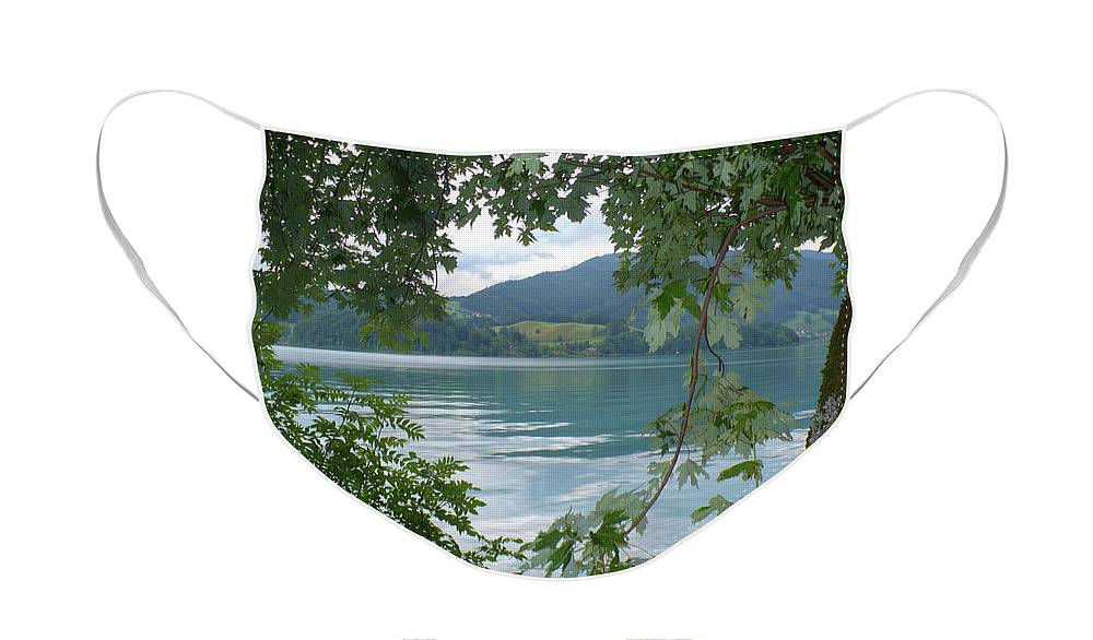 Austria Face Mask featuring the photograph Austrian Lake through the Trees by Carol Groenen