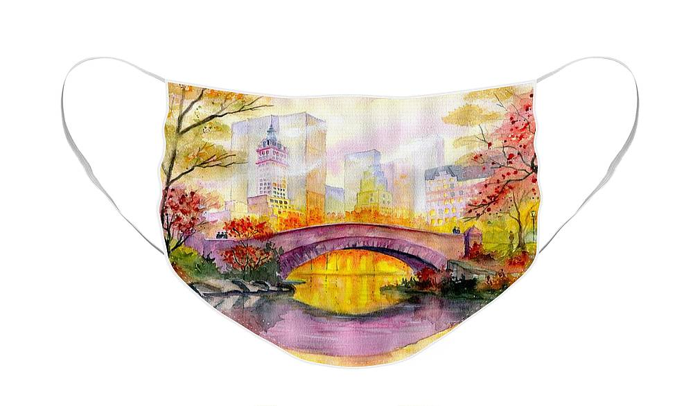 Autumn At Gapstow Bridge Central Park Face Mask featuring the painting Autumn at Gapstow Bridge Central Park by Melly Terpening