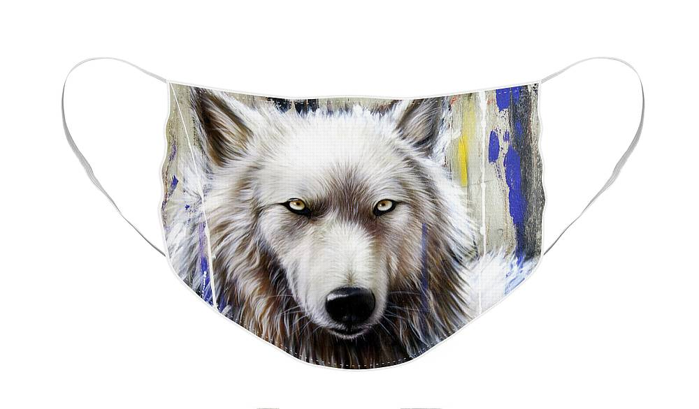 Wolf Face Mask featuring the painting Autumn Gold 2 by Sandi Baker