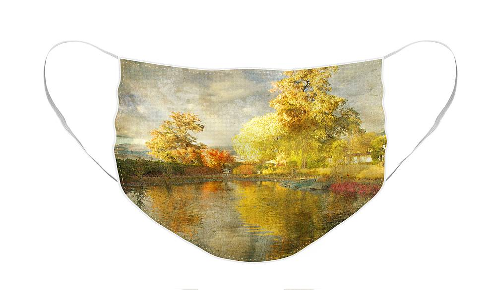 Japanese Gardens Face Mask featuring the photograph Autumn in the Pond by Tara Turner