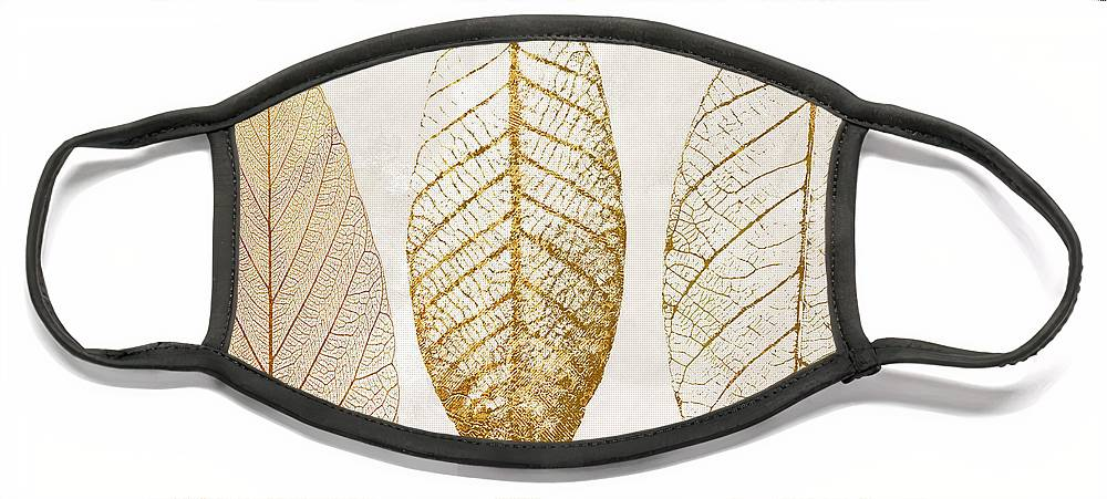 Leaf Face Mask featuring the painting Autumn Leaves III Fallen Gold by Mindy Sommers