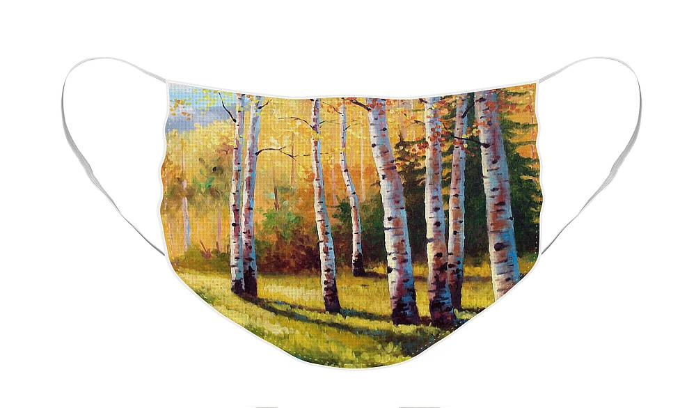 Landscape Face Mask featuring the painting Autumn Shade by David G Paul