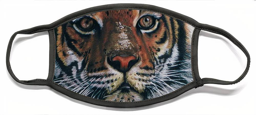 Tiger Face Mask featuring the drawing Backlit Tiger by Barbara Keith
