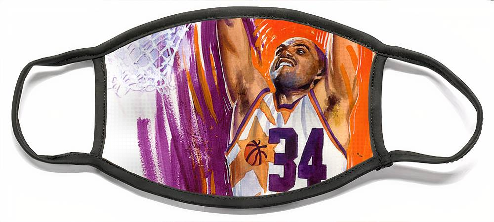 Charles Barkley Face Mask featuring the painting Barkley by Ken Meyer jr