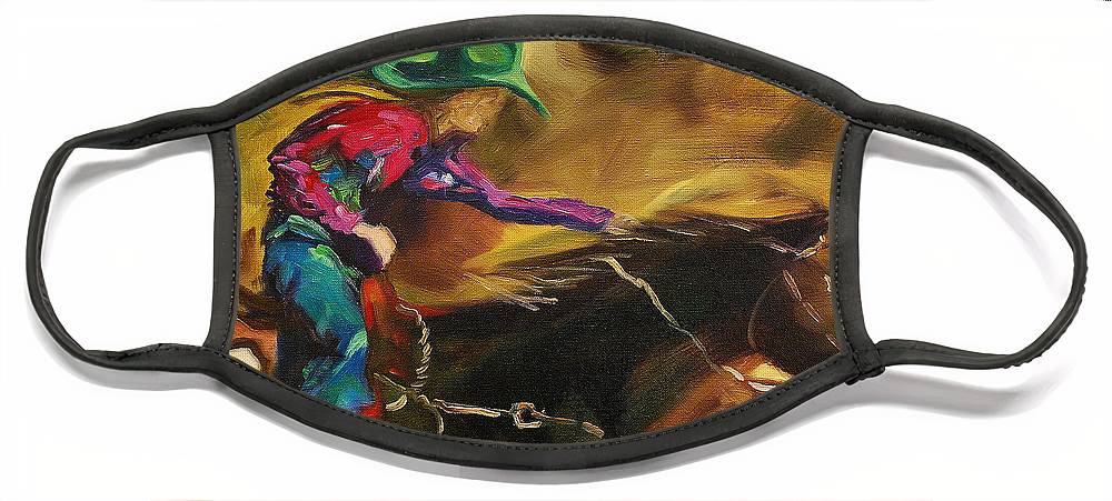 Western Art Face Mask featuring the painting Barrel Racer by Diane Whitehead