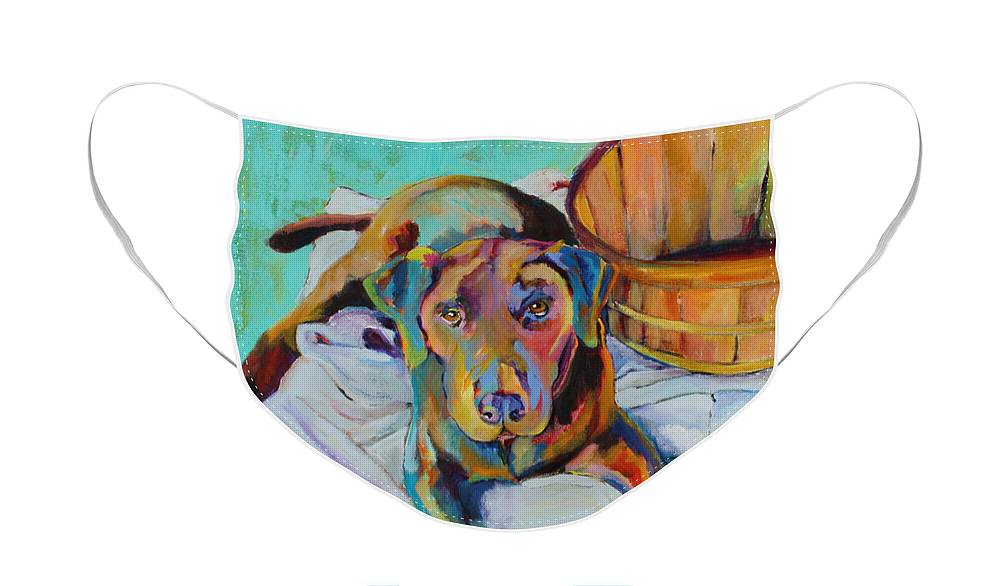 Chocolate Lab Face Mask featuring the painting Basket Retriever by Pat Saunders-White