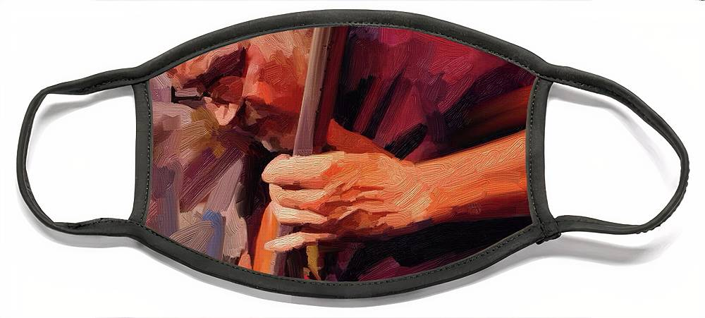 Bass Player Face Mask featuring the digital art Bass Player by Scott Waters