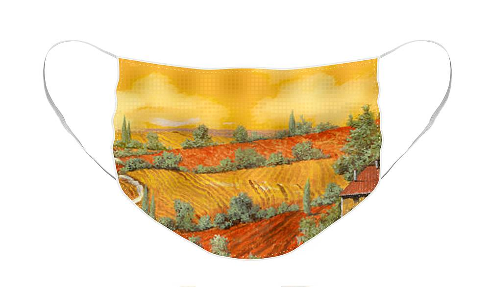 Tuscany Face Mask featuring the painting Maremma Toscana by Guido Borelli