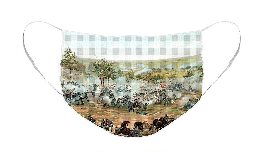 Gettysburg Face Mask featuring the painting Battle of Gettysburg by War Is Hell Store