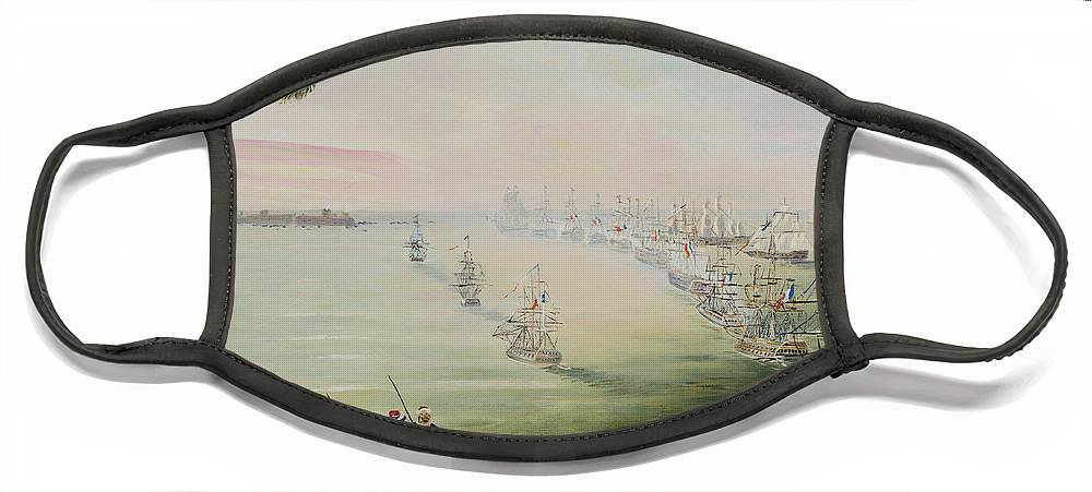 Sea Battle Face Mask featuring the painting Battle Of The Nile by Richard Barham
