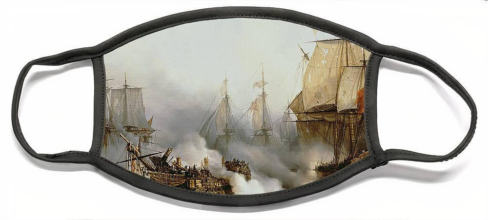 Battle Of Trafalgar By Louis Philippe Crepin Face Mask featuring the painting Battle of Trafalgar by Louis Philippe Crepin