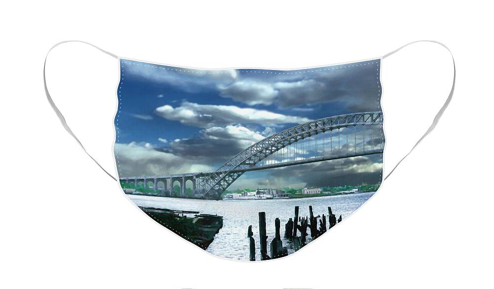 Seascape Face Mask featuring the photograph Bayonne Bridge by Steve Karol