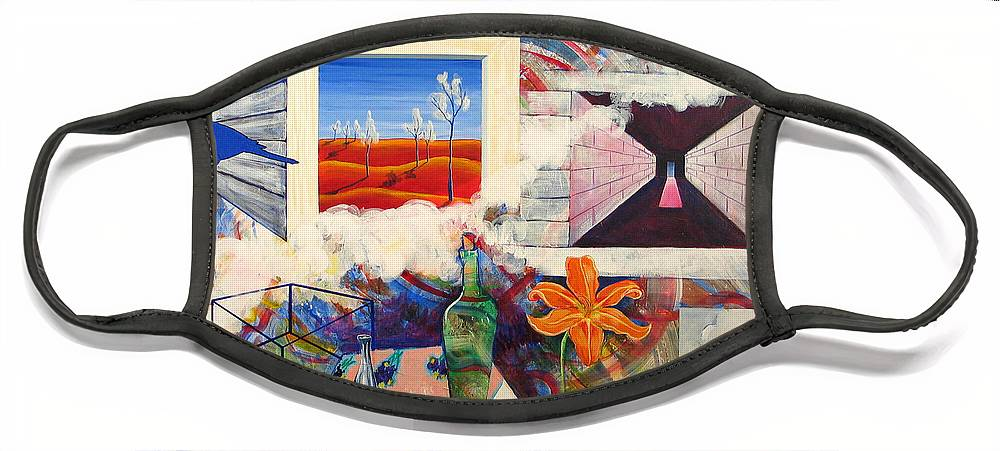 Landscape Face Mask featuring the painting Be Here Now by Rollin Kocsis