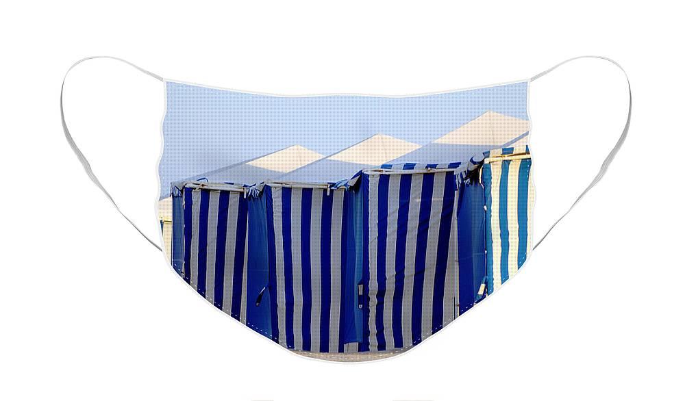 Beach Ocean Vacation Cabans Blue Tents Face Mask featuring the photograph Beach Cabanas by Jill Reger