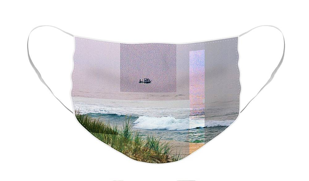 Landscape Face Mask featuring the digital art Beach Collage 3 by Steve Karol