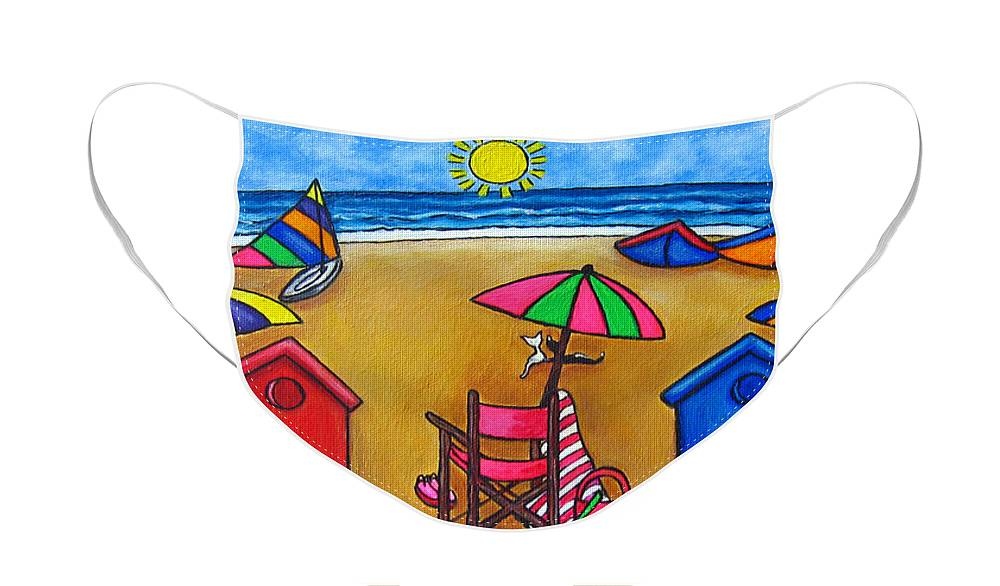 Beach Face Mask featuring the painting Beach Colours by Lisa Lorenz