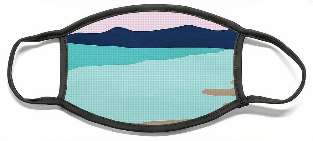 Beach Face Mask featuring the mixed media Beach Cove- Art by Linda Woods by Linda Woods