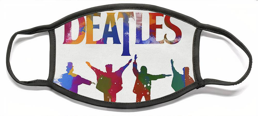 Beatles Watercolor Poster Face Mask featuring the painting Beatles Watercolor Poster by Dan Sproul