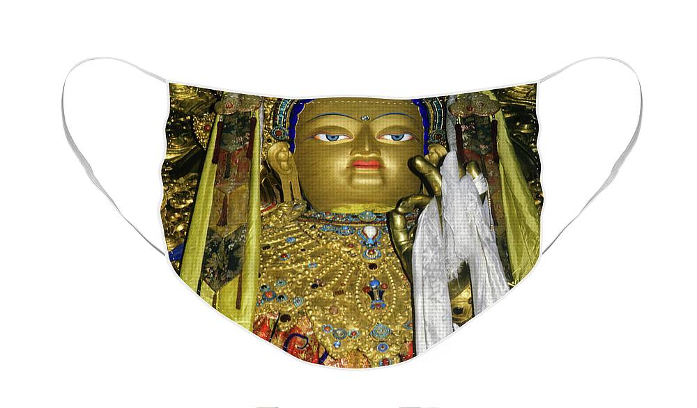 Tibet Face Mask featuring the photograph Bejeweled Buddha by Michele Burgess