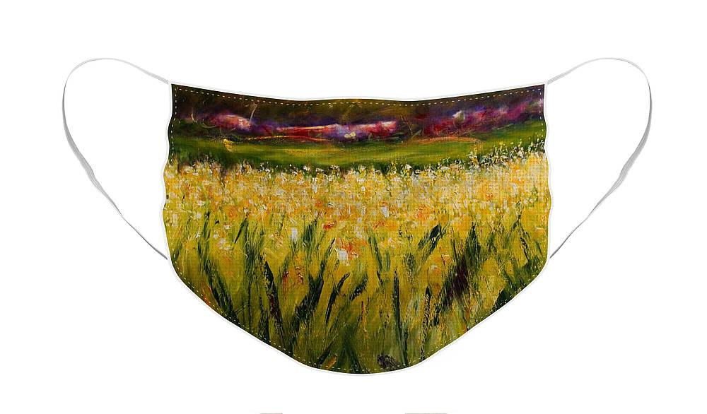 Landscape Face Mask featuring the painting Beyond The Valley by Shannon Grissom