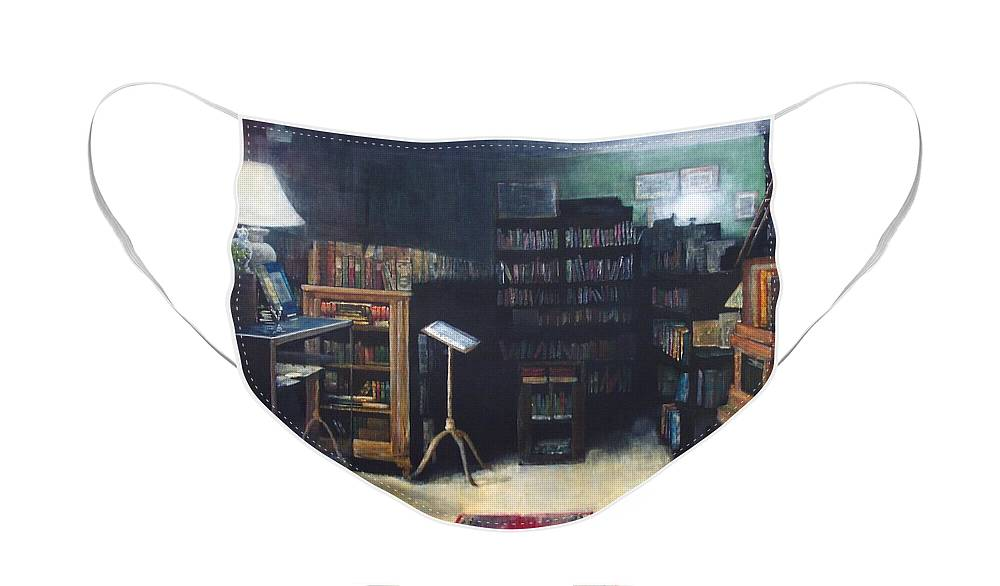 Library Face Mask featuring the painting Bibliopoly by Victoria Heryet