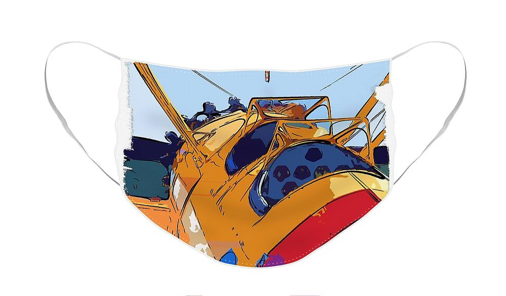 Berry Face Mask featuring the painting BiPlane by Diane E Berry