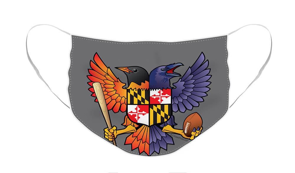Birdland Face Mask featuring the digital art Birdland Baltimore Raven and Oriole Maryland Shield by Joe Barsin