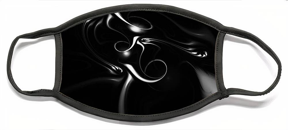 Fractal Face Mask featuring the digital art Black and White Fractal 080810B by David Lane