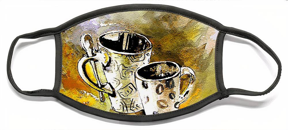 Cafe Crem Face Mask featuring the painting Black and White by Miki De Goodaboom