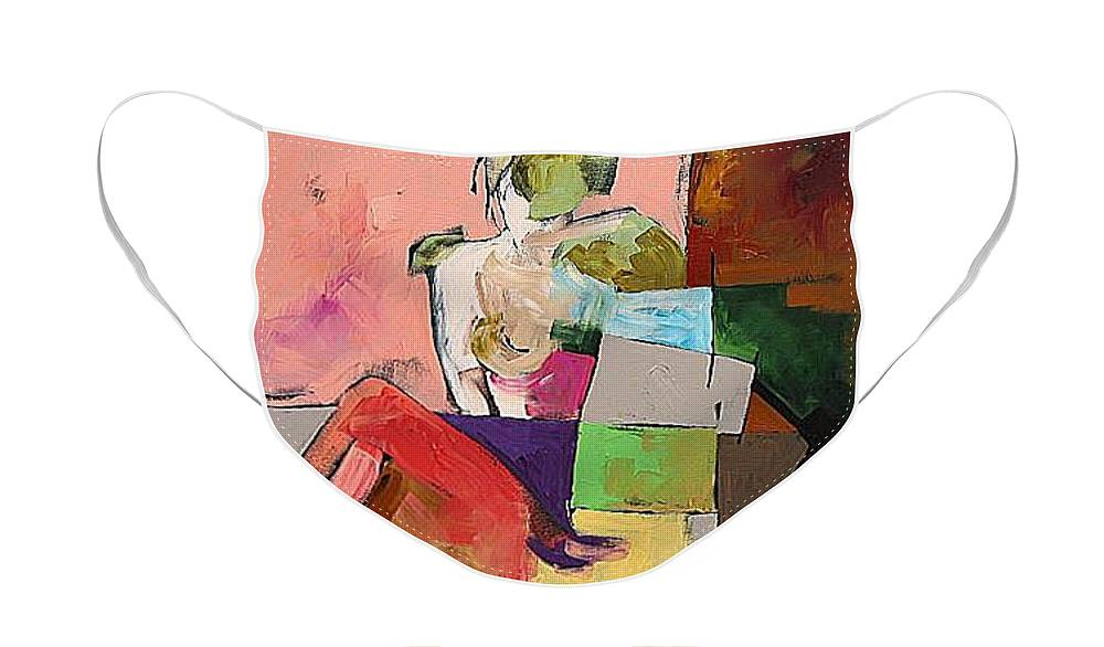 Original Face Mask featuring the painting Black Glove by Linda Monfort