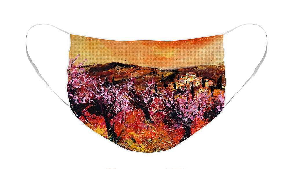 Provence Cherrytree Summer Spring Face Mask featuring the painting Blooming cherry trees by Pol Ledent