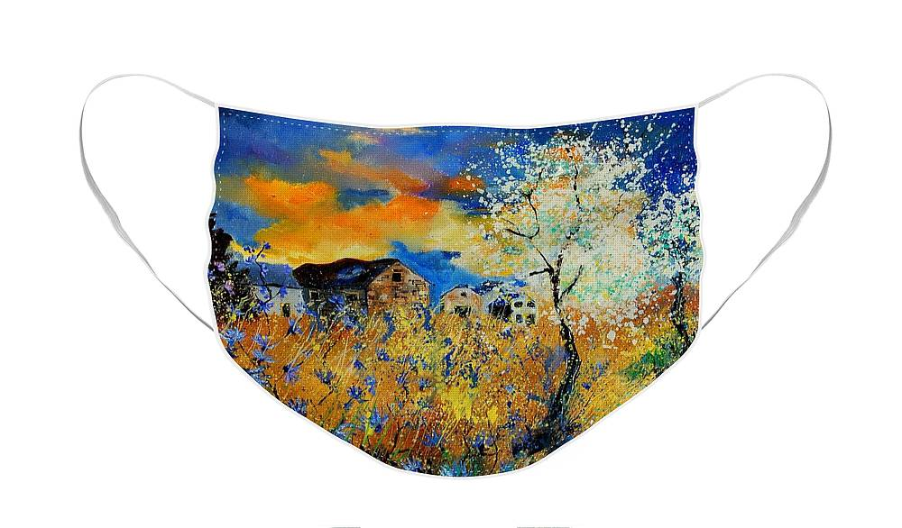 Poppies Face Mask featuring the painting Blooming trees by Pol Ledent