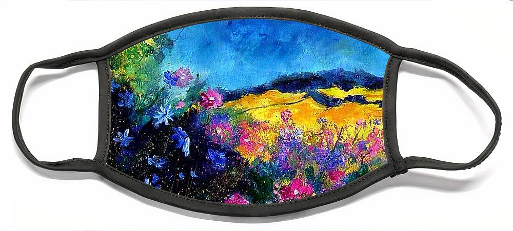 Landscape Face Mask featuring the painting Blue and pink flowers by Pol Ledent