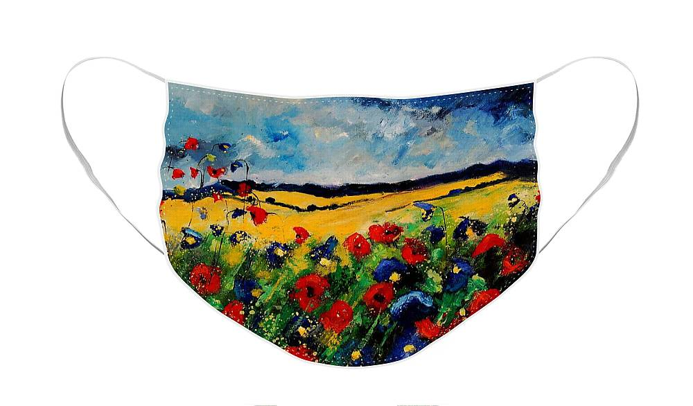 Poppies Face Mask featuring the painting Blue and red poppies 45 by Pol Ledent