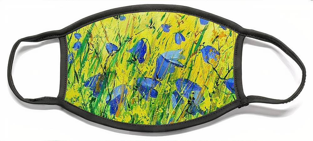 Poppies Face Mask featuring the painting Blue bells by Pol Ledent