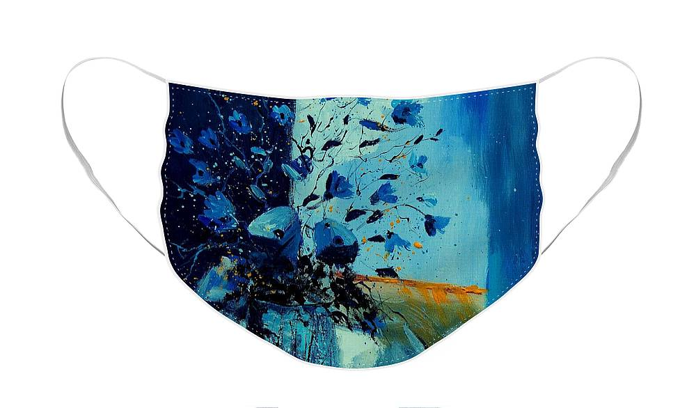 Flowers Face Mask featuring the painting Blue Bunch 45 by Pol Ledent