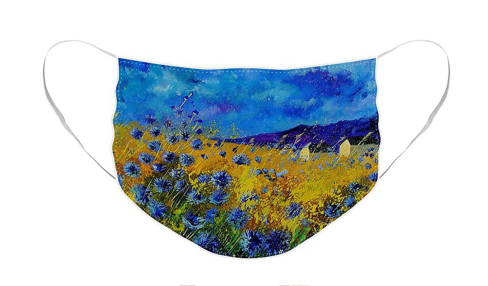 Poppies Face Mask featuring the painting Blue cornflowers by Pol Ledent
