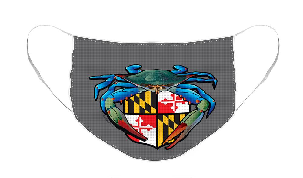 Maryland Flag Face Mask featuring the digital art Blue Crab Maryland Crest by Joe Barsin