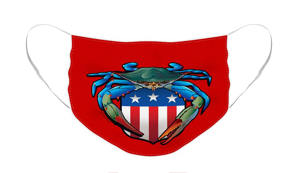 Blue Crab Face Mask featuring the digital art Blue Crab USA Crest by Joe Barsin
