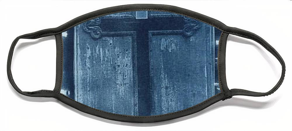 Cyanotype Face Mask featuring the photograph Blue Cross by Jane Linders