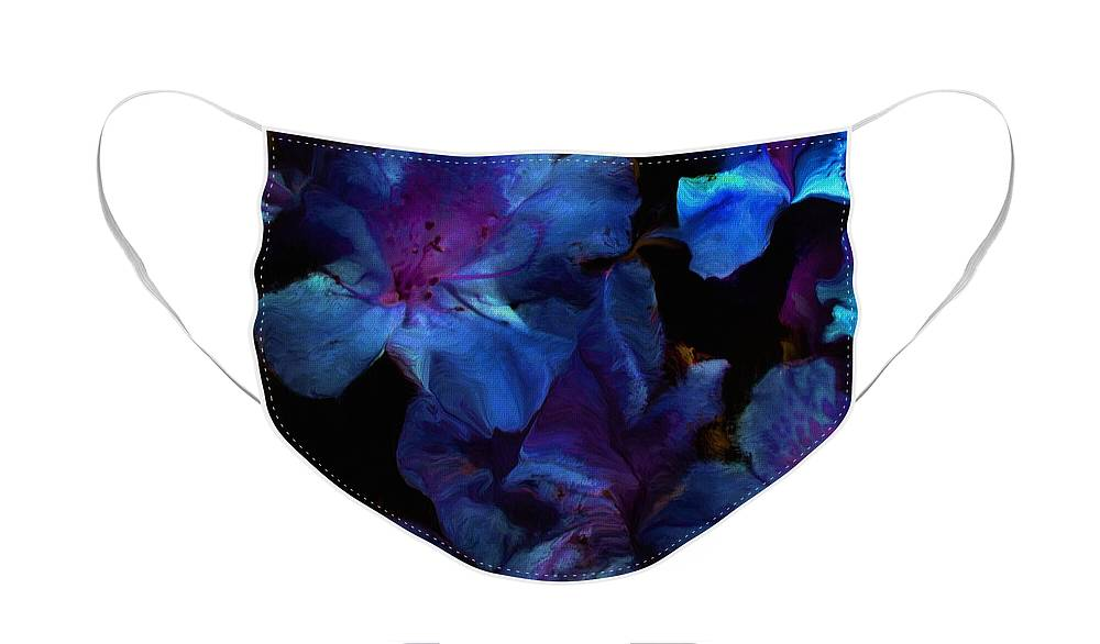 Floral Face Mask featuring the digital art Blue Floral Fantasy by David Lane